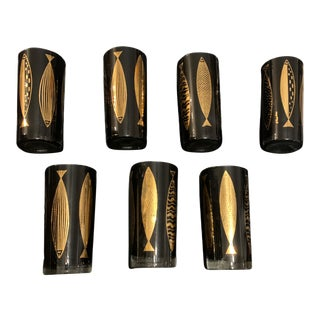 1960s Mid-Century Modern Fred Press Black and Gold Highball Glasses - Set of 7 For Sale