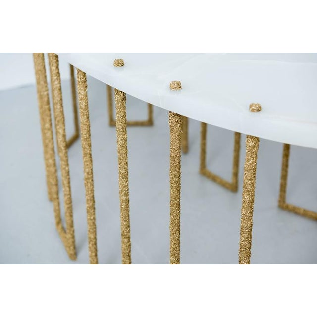 Not Yet Made - Made To Order Hand Made Brass Shavings Coffee Table with Onyx Top, by Samuel Amoia For Sale - Image 5 of 9