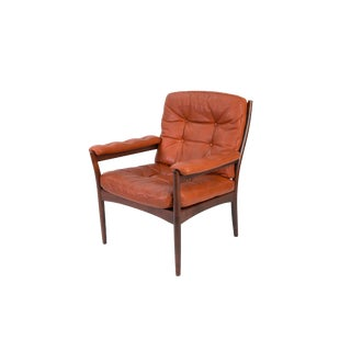 Carmen Armchair in Orange Leather by Gote Mobler For Sale