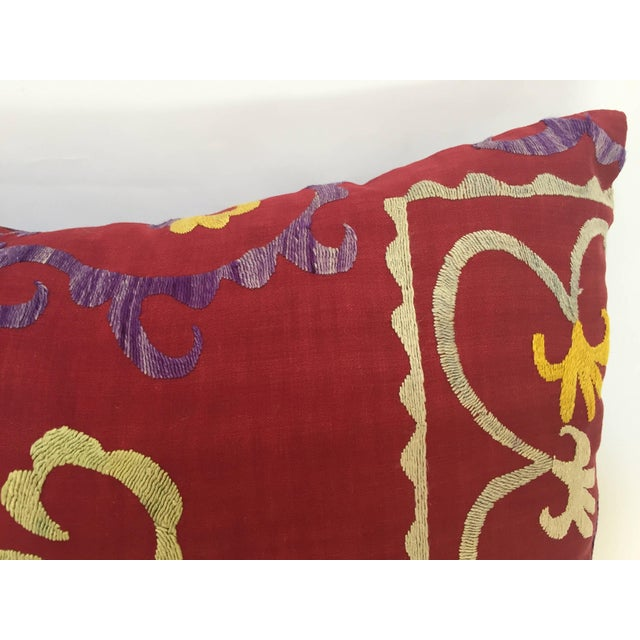 Early 20th Century Large Vintage Colorful Suzani Embroidery Throw Pillow From Uzbekistan For Sale - Image 5 of 13