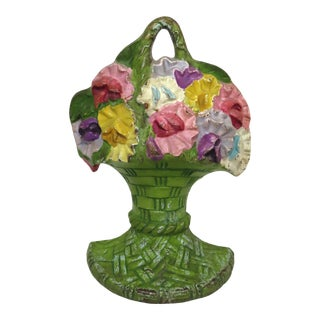 Vintage Dated 1926 Cast Iron Flower Basket Doorstop For Sale