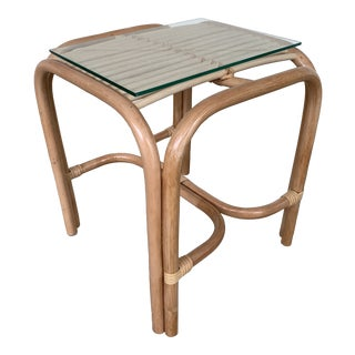 Rattan Side Table With Glass Top Natural Finish For Sale