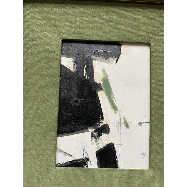 Abstract painting by Kimberly Moore. Sumi Ink, acrylic paint, charcoal and pencil on heavy paper. Green filet with a...