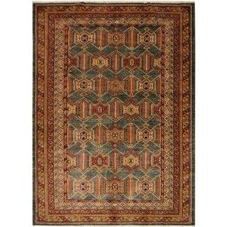 Super Kazak Garish Lauralee Green/Gold Wool Rug - 5'8 X 7'6