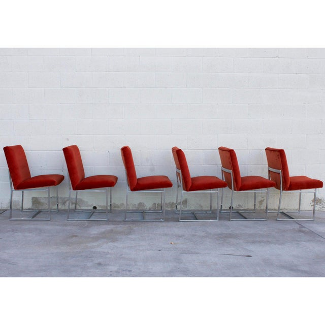 1970s Mid Century Modern Milo Baughman for Thayer Coggin Rust Persimmon Dining Chairs-Set of 6 For Sale - Image 5 of 10