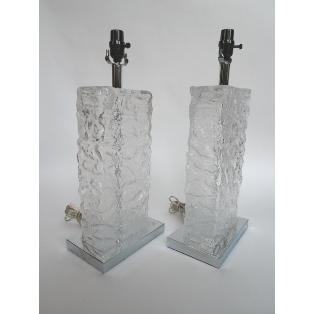 Modern Ice Cube Glass Table Lamps - A Pair - Image 3 of 8