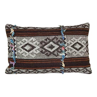 Vintage Goat Hair Kilim Pillow, Rustic Farmhouse Decor, Turkish Kilim Antique Lumbar Pillow 14'' X 40'' (35 X 60 Cm) For Sale