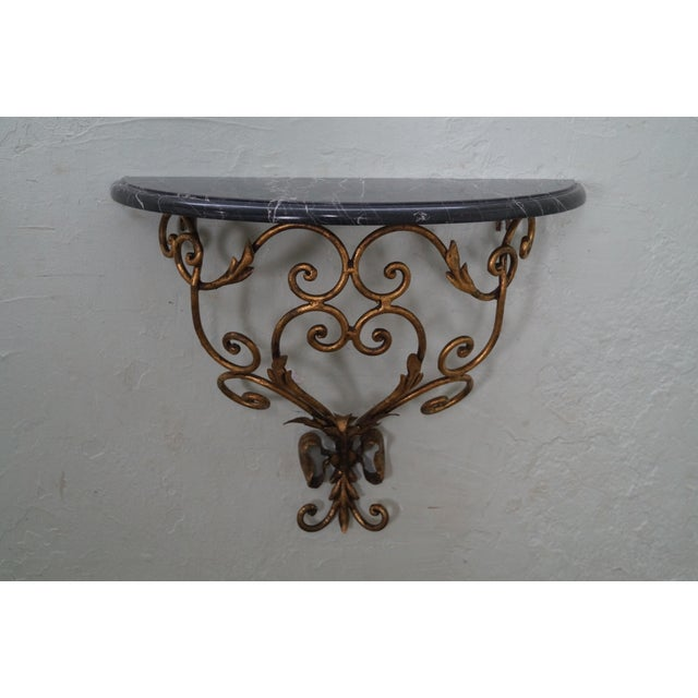 Italian Gilt Metal Marble Top Demilune Console - Image 2 of 10