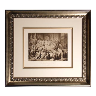 """Antique """"Nero Persecuting the Christians"""" Engraving Gebbie & Co. Framed For Sale"""