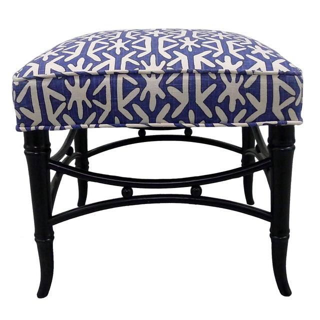 Black Faux-Bamboo & Blue Upholstered Stool For Sale