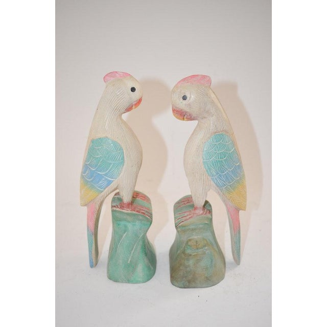 1970s Figurative Hand Carved Wooden Cockatoo Shelf Sitters - a Pair For Sale - Image 4 of 13