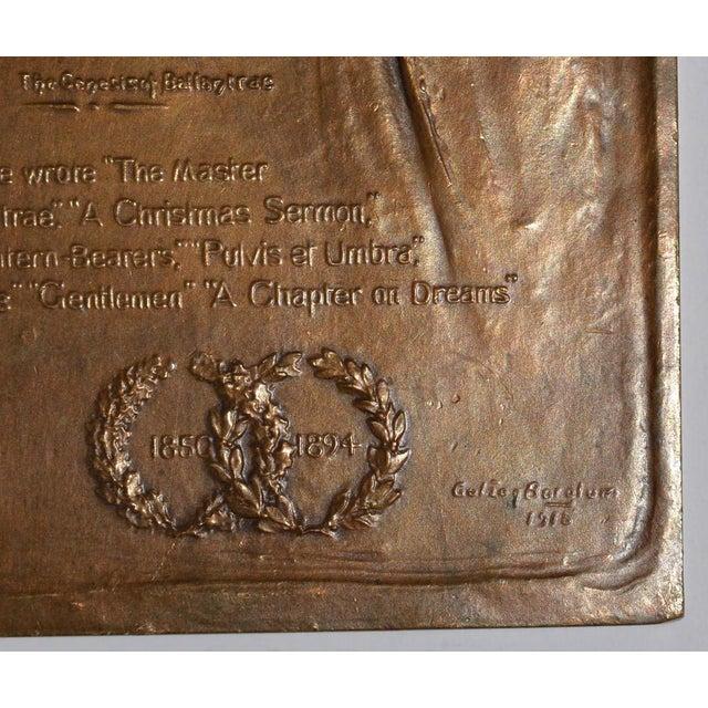 Robert Louis Stevenson Bronze Medallion by Gutzon Borglum c.1915 Fine bronze medallion by noted American sculptor Gutzon...