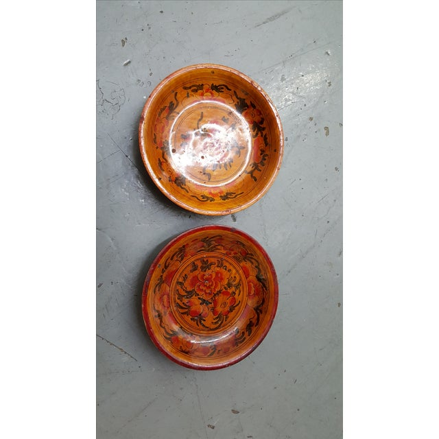 Japanese Wooden Inscribed Bowls - Pair Lacquer Finish - Image 4 of 4