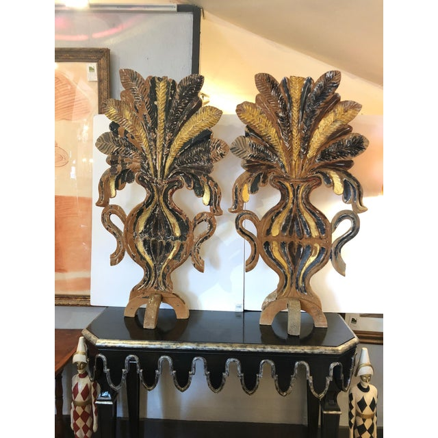 Mid 19th Century Antique Carved Painted Gilded Fireplace Screens Sculptures - A Pair For Sale - Image 13 of 13