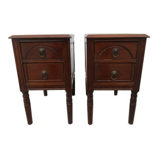 Early 20th Century Two Drawer Nightstands With Lion Head Drawer Pulls-a Pair For Sale