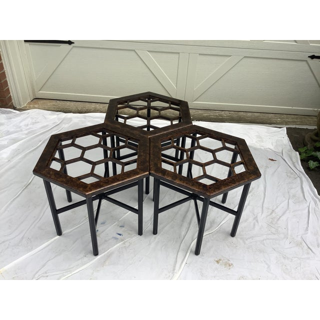 Wood Widdicomb Honeycomb Tables, Set of 3 For Sale - Image 7 of 13