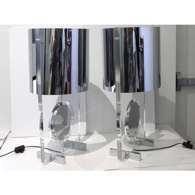 Metal Vintage Karl Springer Attributed Table Lamps Rotating Discs Lucite Chrome - a Pair For Sale - Image 7 of 11