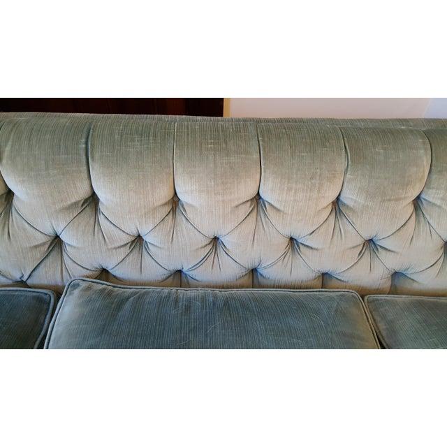 Hollywood Regency Henredon Teal Velvet Sofa For Sale - Image 3 of 4