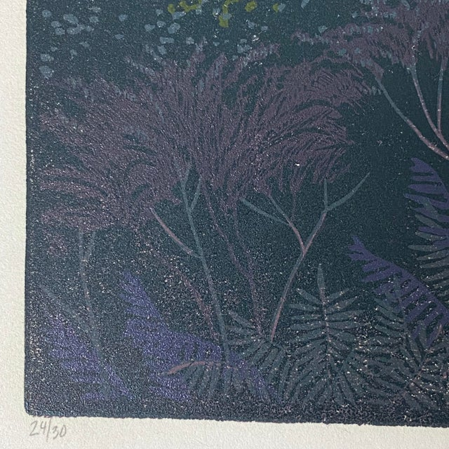 """1985 """"Through a Dark Time"""" Linocut Numbered 23/30 by Teri Malo For Sale - Image 4 of 4"""