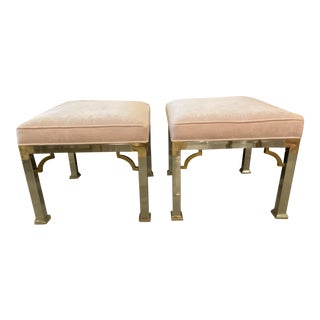 Vintage Chrome & Brass Upholstered Pink Velvet Benches Stools Ottomans -A Pair For Sale