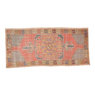 "Vintage Distressed Oushak Rug Runner - 3'11"" x 8'2"""
