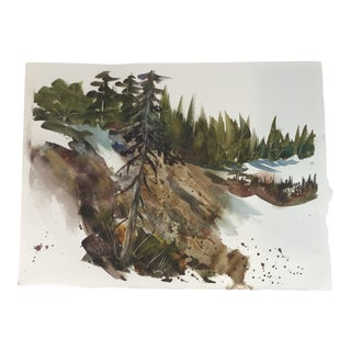 Original Unframed Watercolor Forest Scene Painting For Sale