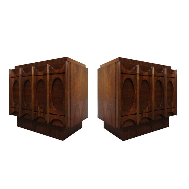 Mid-Century Lane Brutalist Style Walnut Nightstands - A Pair - Image 3 of 4