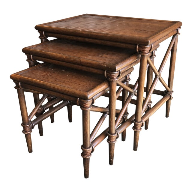 Bamboo Nesting Tables, Set of Three For Sale