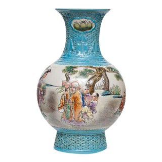 Early 20th C. Carved Chinese Famille Rose Vase For Sale