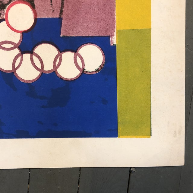 Abstract Original Vintage Mid Century Modern Abstract Lithograph For Sale - Image 3 of 5