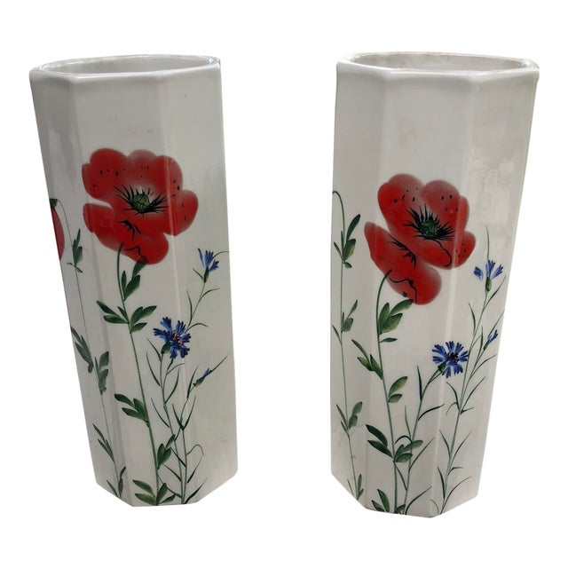 1960's Italian Hand Painted Ceramic Octagonal Vases - a Pair For Sale