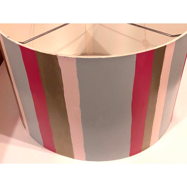 Gray Hand Painted Custom Modern Lampshade For Sale - Image 8 of 12