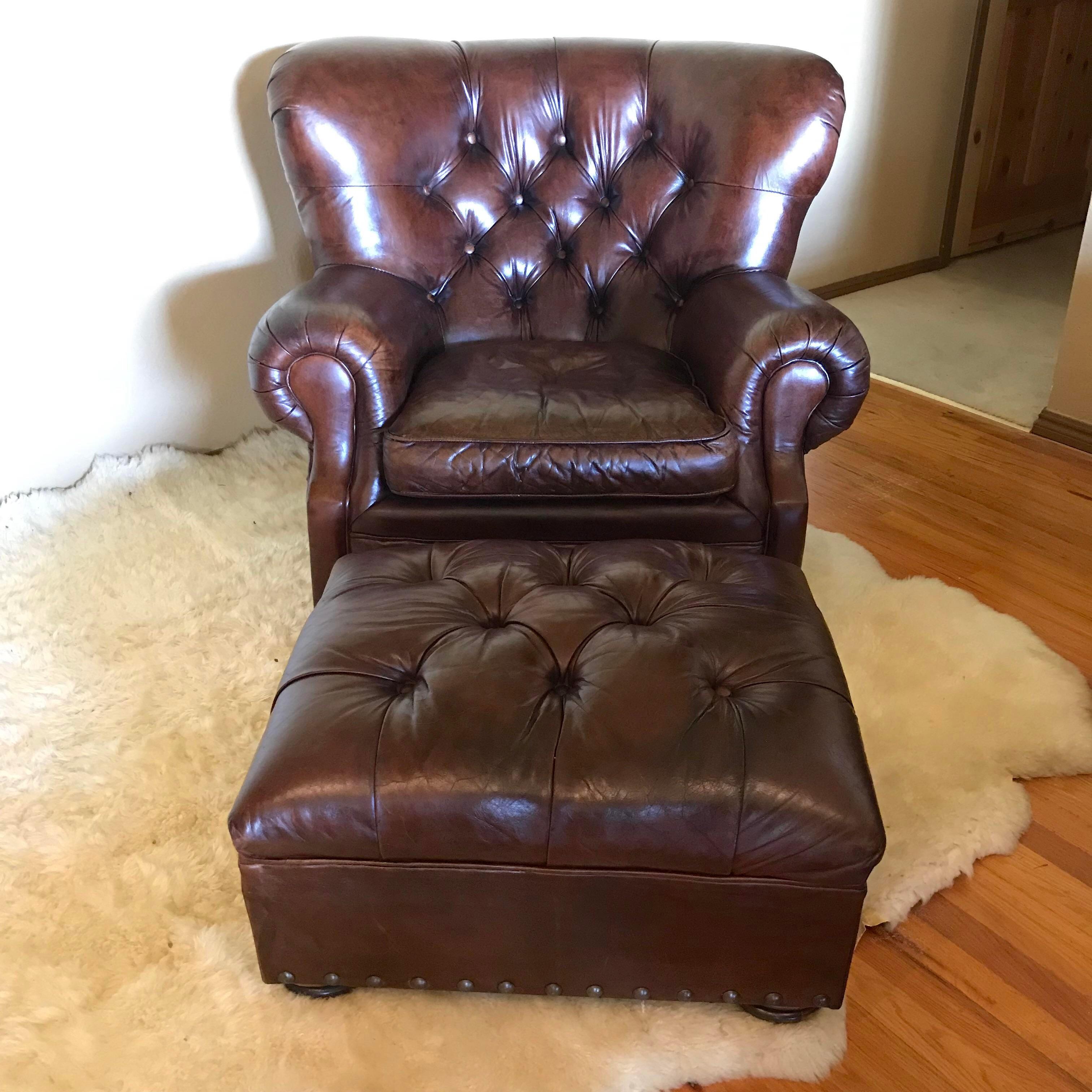 Restoration Hardware Churchill Leather Swivel Chair U0026 Ottoman   Image 2 Of  13