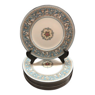 Wedgwood Turquoise Florentine Salad Plates - Set of 8 For Sale