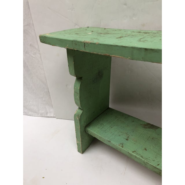1800s French Country Farmhouse Painted Bucket Bench For Sale - Image 10 of 12