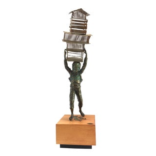 1970s Curtis Jere Boy Mixed Metal on Wood Base Sculpture