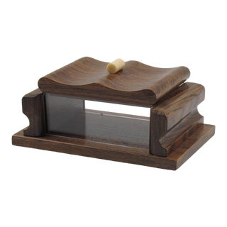 French Mid-Century Modern Rosewood and Lucite Box For Sale