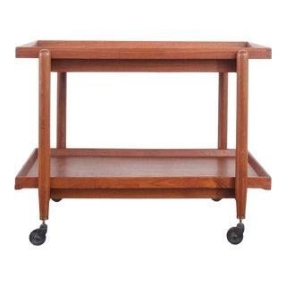 Mid Century Modern Teak Bar Cart For Sale