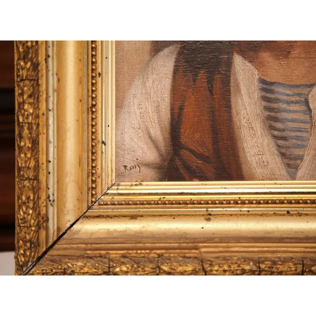 19th Century Italian Portraits Paintings in Gilt Frames Signed Rossi - A Pair For Sale - Image 4 of 8
