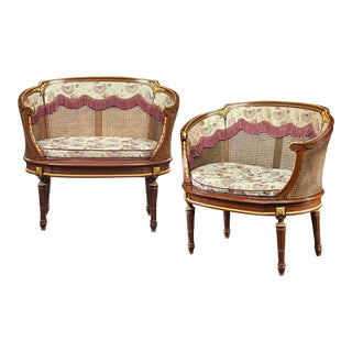 Louis XV-Style French Caned Settees For Sale