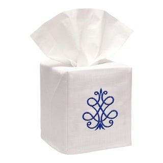 Cobalt Blue French Scroll Tissue Box Cover in White Linen & Cotton, Embroidered For Sale