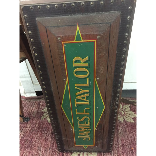 Brown 1940s Folk Art Pine Box With James F Taylor Letting For Sale - Image 8 of 8