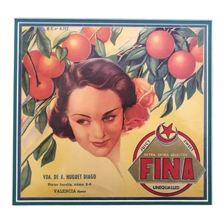 Original Matted 1940s Spanish Label, Juicy + Sweet (Fina) For Sale