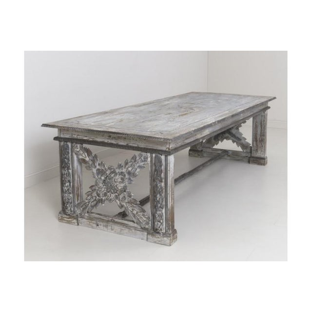 19th Century Large Tuscan Richly Carved Trestle Table For Sale In Wichita - Image 6 of 11