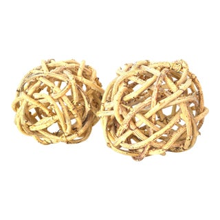 Natural Windsor Knot Balls in Dried Wisteria Stems - a Pair For Sale