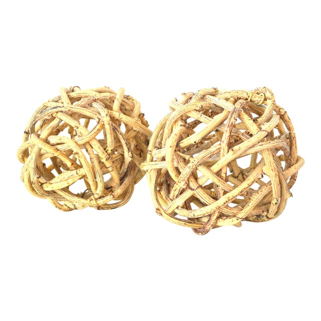 Image of Natural Windsor Knot Balls in Dried Wisteria Stems - a Pair