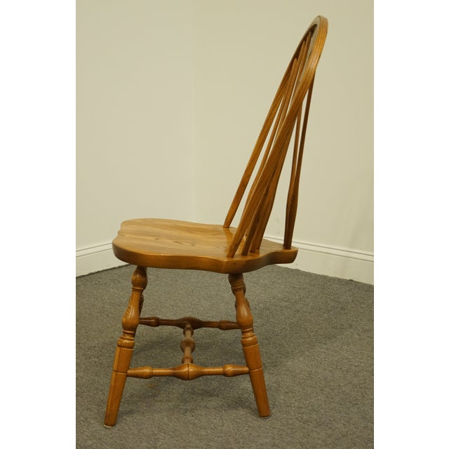 Late 20th Century Vintage S. Bent Bros. Grand Rapids Solid Oak Country Style Dining Side Chair For Sale In Kansas City - Image 6 of 11