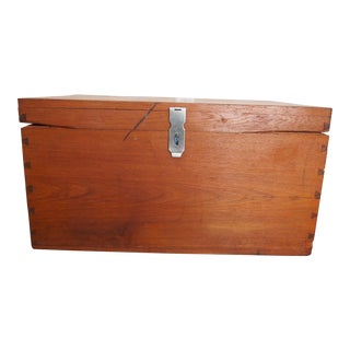 Vintage Burmese Handmade Teak Chest For Sale