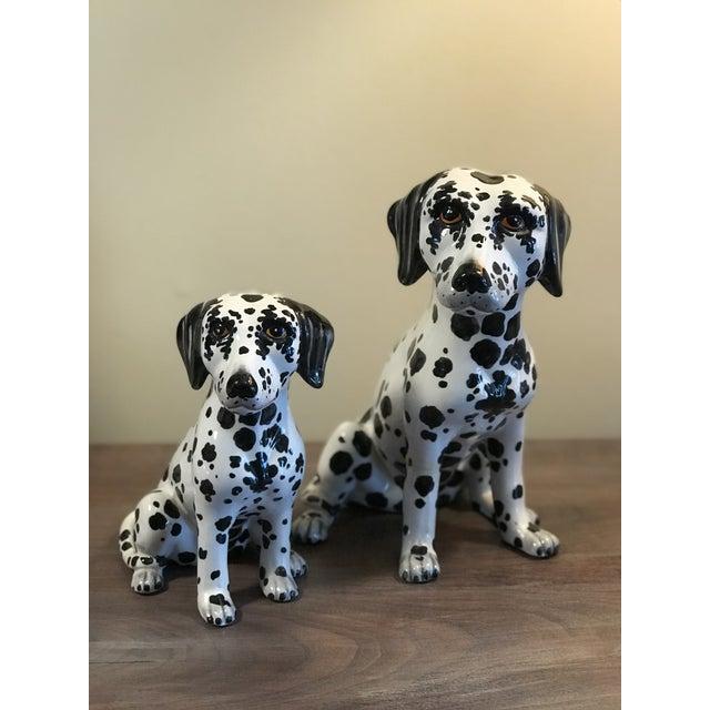 Vintage Italian Ceramic Dalmatian Figurines - a Pair For Sale - Image 4 of 10