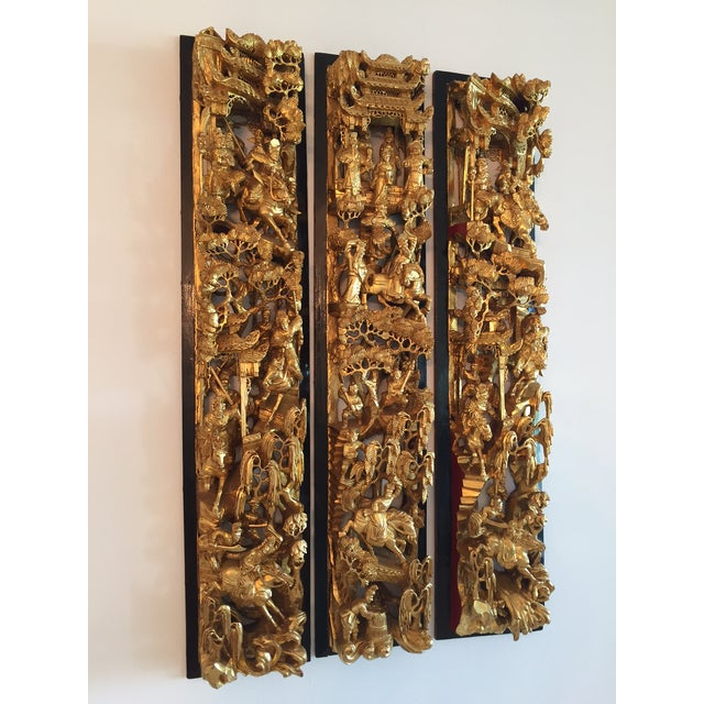 Antique Chinese Wooden Temple Panels - Set of 3 - Image 4 of 7
